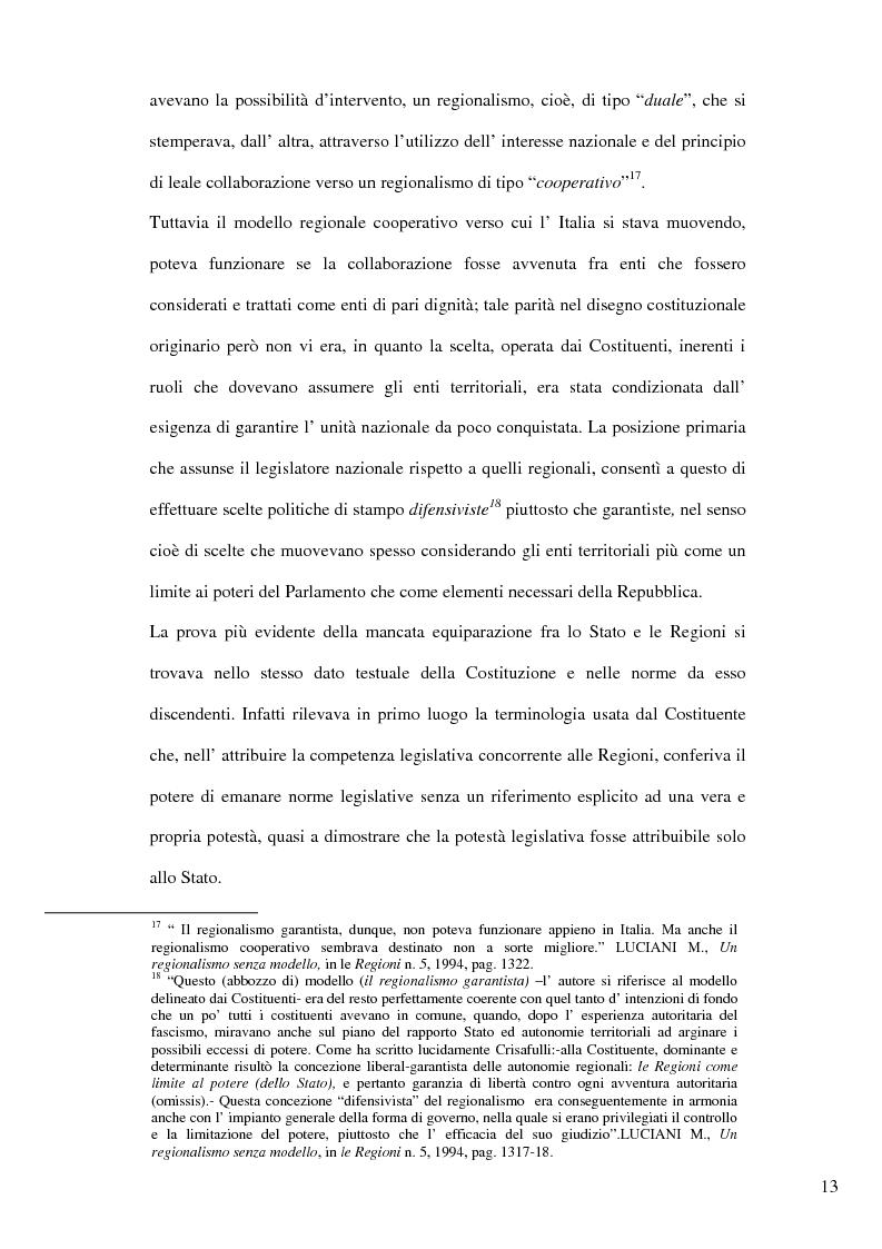 Anteprima della tesi: Il nuovo riparto delle competenze legislative tra lo Stato e le Regioni e l'interesse nazionale, Pagina 10