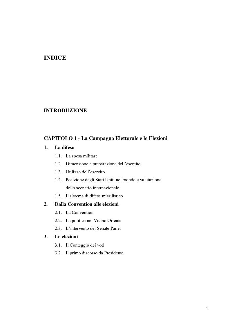 Indice della tesi: La Strategia di Sicurezza Nazionale di George Walker Bush, Pagina 1