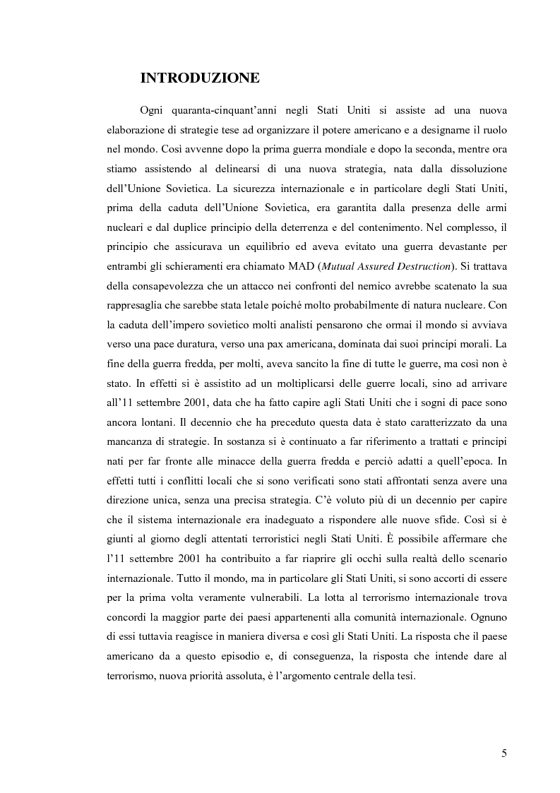 Anteprima della tesi: La Strategia di Sicurezza Nazionale di George Walker Bush, Pagina 1