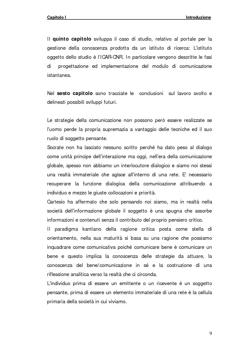 Anteprima della tesi: La gestione della comunicazione istantanea in un portale della conoscenza, Pagina 9