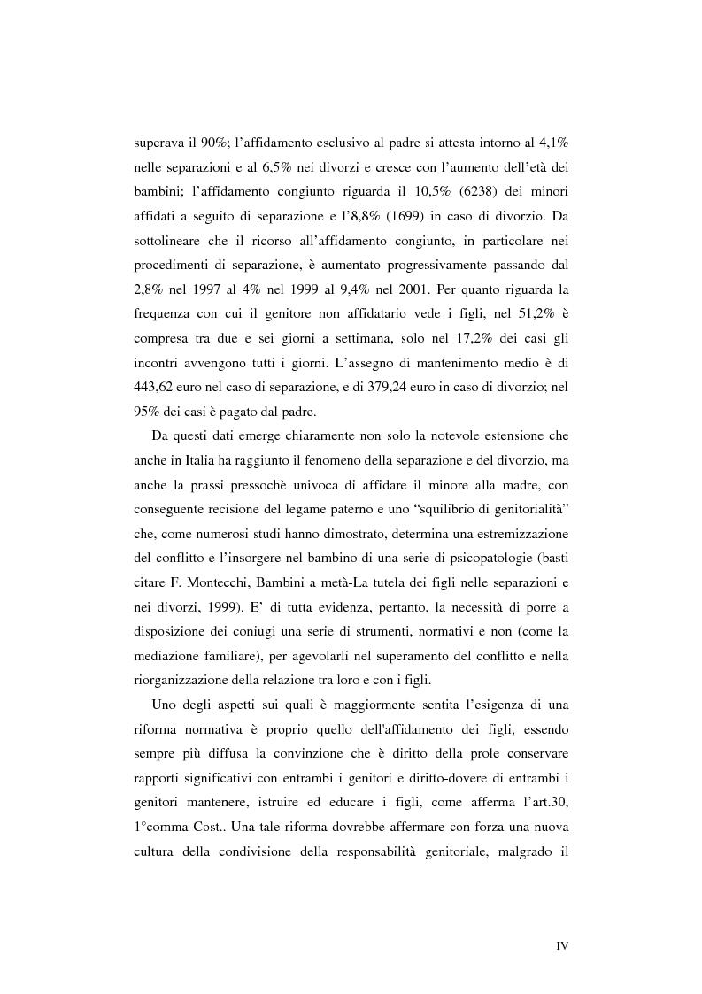 Anteprima della tesi: Le categorie di affidamento dei figli nella legislazione vigente e negli attuali progetti di riforma. Il diritto del minore alla bigenitorialità, Pagina 2
