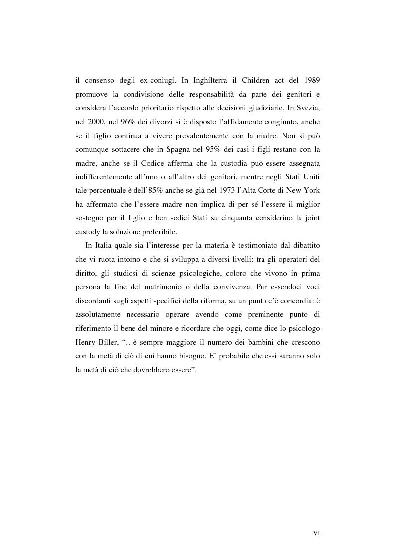 Anteprima della tesi: Le categorie di affidamento dei figli nella legislazione vigente e negli attuali progetti di riforma. Il diritto del minore alla bigenitorialità, Pagina 4