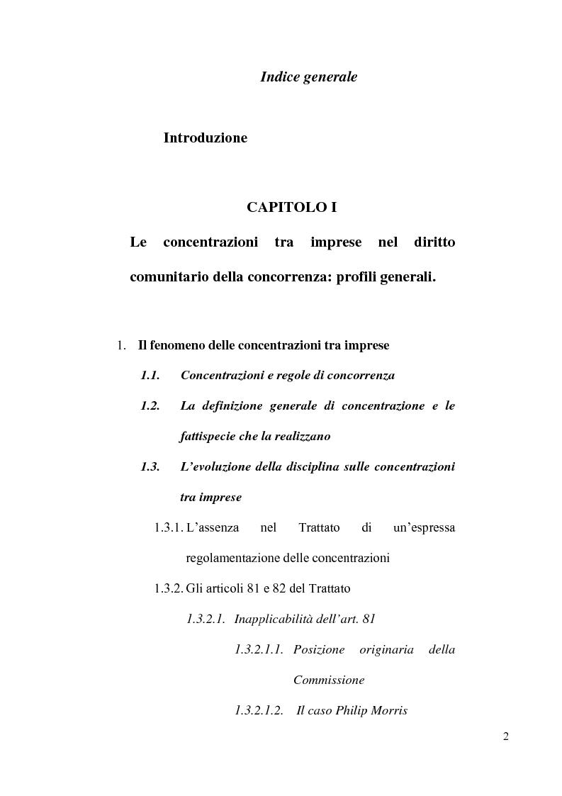 Indice della tesi: Le concentrazioni tra imprese nel diritto comunitario della concorrenza, Pagina 1