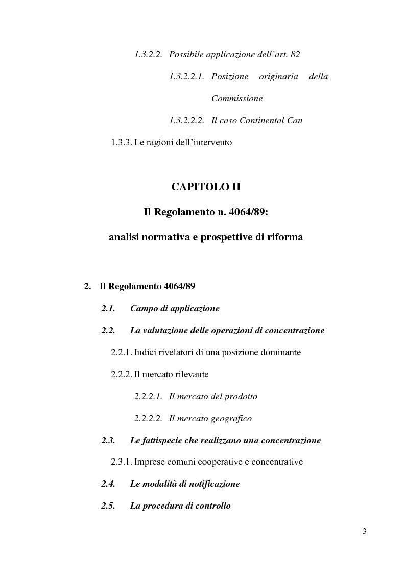 Indice della tesi: Le concentrazioni tra imprese nel diritto comunitario della concorrenza, Pagina 2