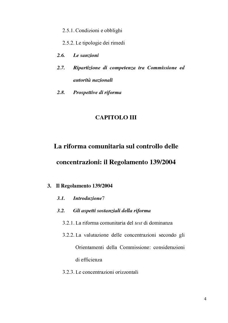 Indice della tesi: Le concentrazioni tra imprese nel diritto comunitario della concorrenza, Pagina 3