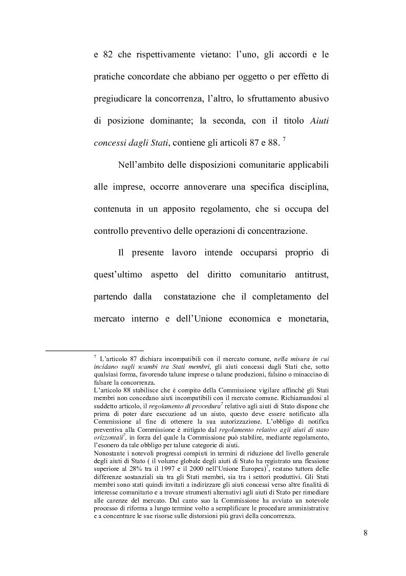 Anteprima della tesi: Le concentrazioni tra imprese nel diritto comunitario della concorrenza, Pagina 3