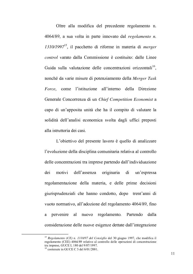 Anteprima della tesi: Le concentrazioni tra imprese nel diritto comunitario della concorrenza, Pagina 6