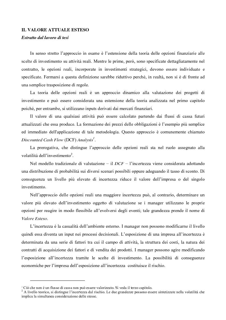 Anteprima della tesi: Il Valore Attuale Esteso - Casi applicativi per valutare progetti di investimento in presenza di incertezza, Pagina 1