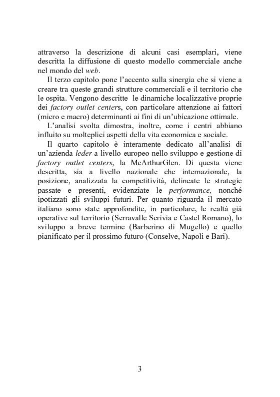 Anteprima della tesi: Factory outlet center: il caso McArthurGlen, Pagina 3