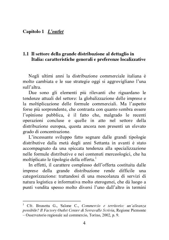 Anteprima della tesi: Factory outlet center: il caso McArthurGlen, Pagina 4