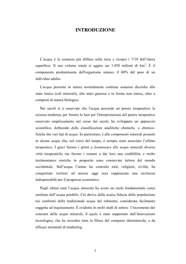 Anteprima della tesi: L'analisi patrimoniale, economica e finanziaria di un'azienda operante nel settore delle acque minerali: il caso Italaquae S.p.A., Pagina 1