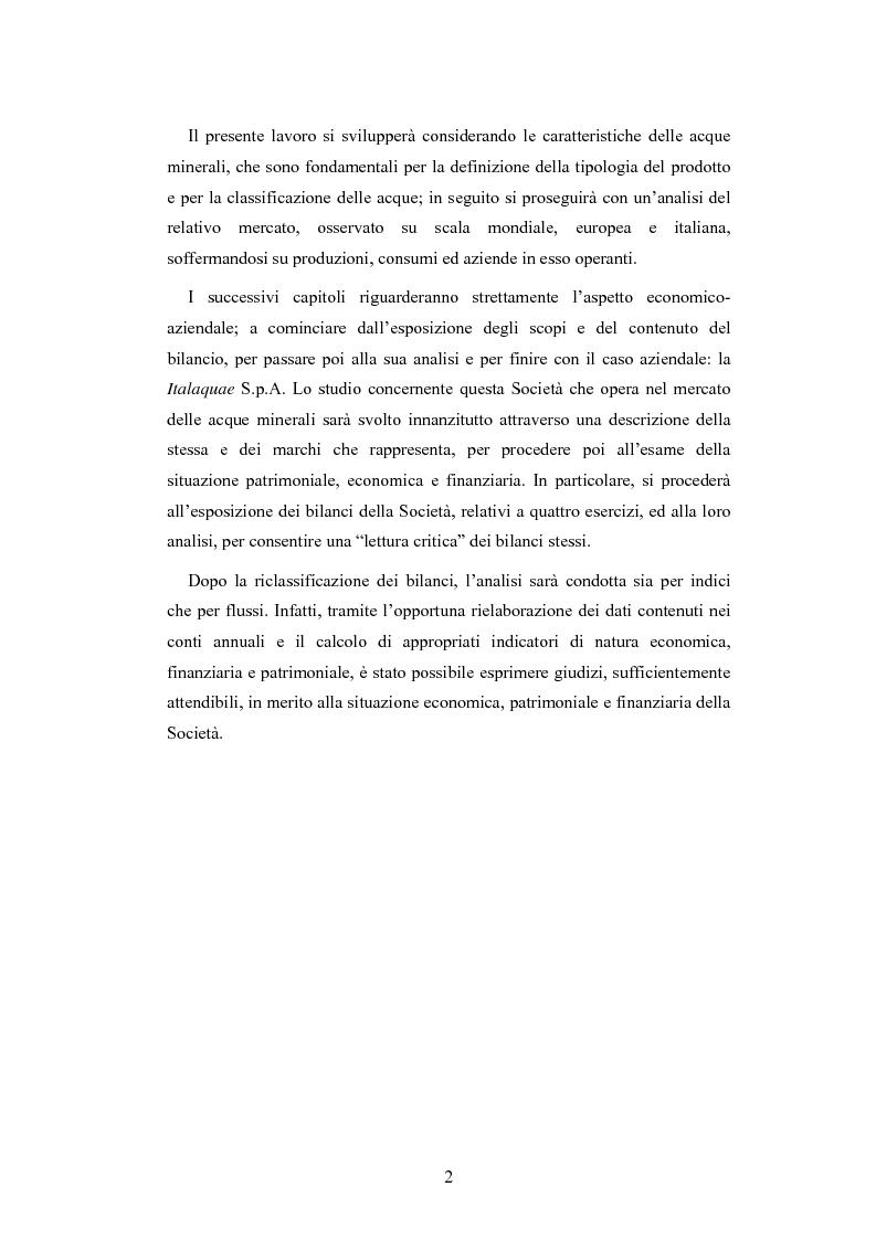 Anteprima della tesi: L'analisi patrimoniale, economica e finanziaria di un'azienda operante nel settore delle acque minerali: il caso Italaquae S.p.A., Pagina 2