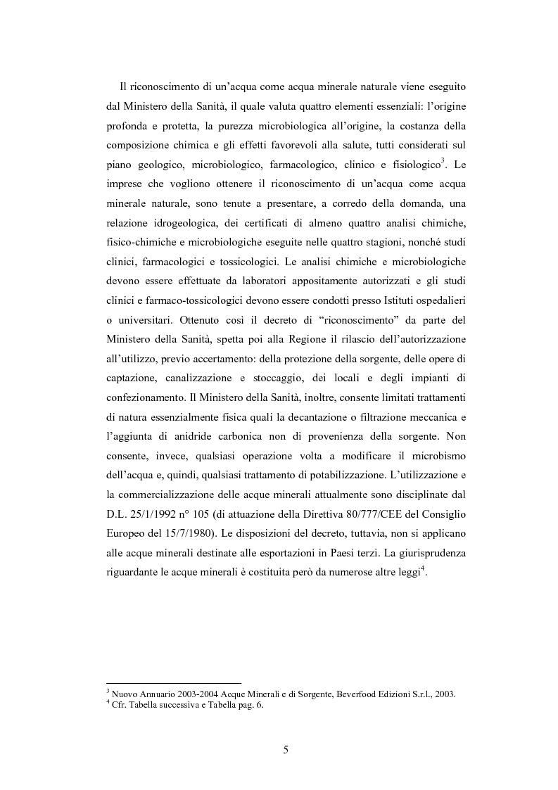 Anteprima della tesi: L'analisi patrimoniale, economica e finanziaria di un'azienda operante nel settore delle acque minerali: il caso Italaquae S.p.A., Pagina 5