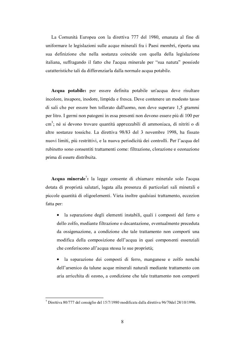 Anteprima della tesi: L'analisi patrimoniale, economica e finanziaria di un'azienda operante nel settore delle acque minerali: il caso Italaquae S.p.A., Pagina 8