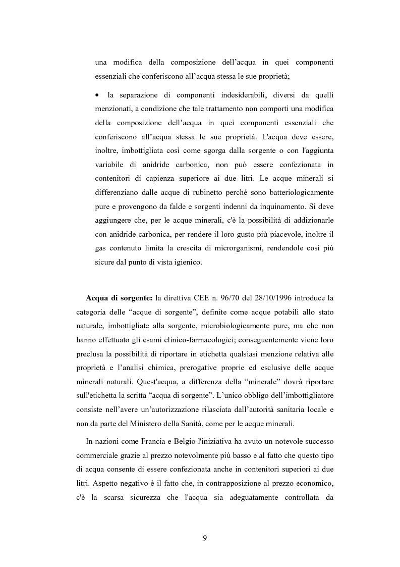 Anteprima della tesi: L'analisi patrimoniale, economica e finanziaria di un'azienda operante nel settore delle acque minerali: il caso Italaquae S.p.A., Pagina 9
