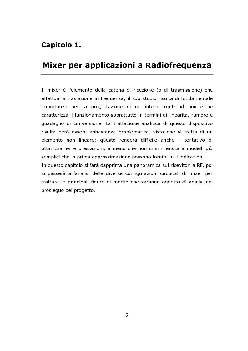 Anteprima della tesi: Progetto circuitale e di layout di un mixer semplicemente bilanciato operante a 13 GHz in tecnologia Si/SiGe BiCMOS a 0.35 micron, Pagina 2
