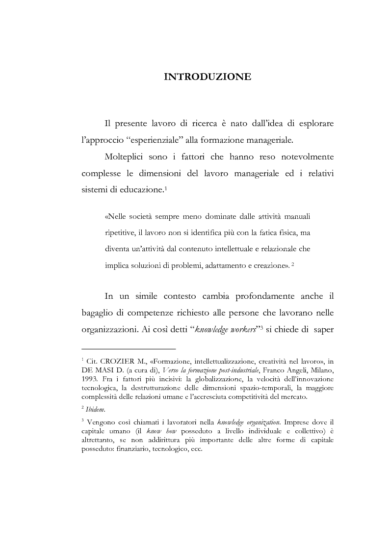 Anteprima della tesi: Outdoor training in Italia. Apprendere dall'esperienza le competenze manageriali., Pagina 1