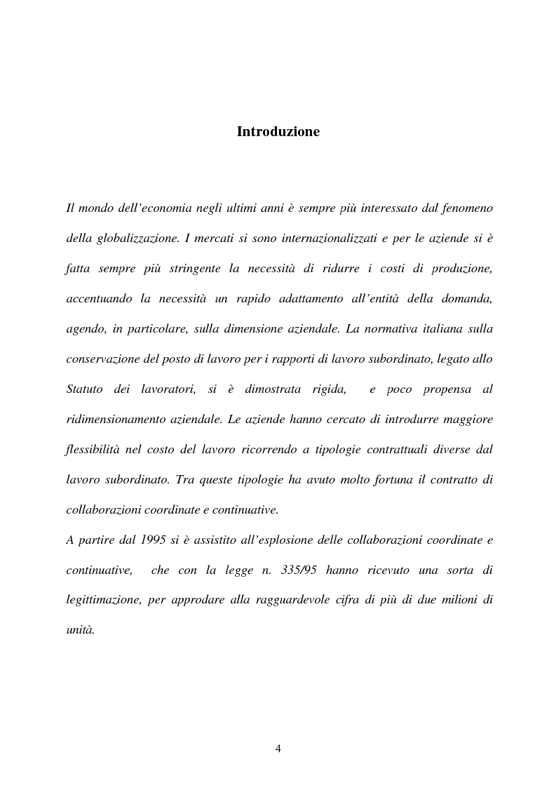Anteprima della tesi: Il contratto di collaborazione a progetto, Pagina 1