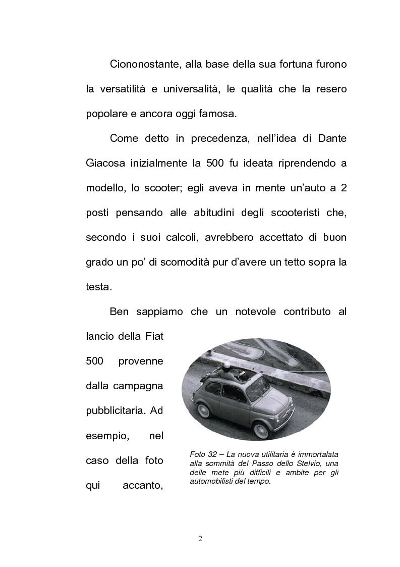 Anteprima della tesi: La FIAT 500 come metafora di un'Italia che cambia, Pagina 2