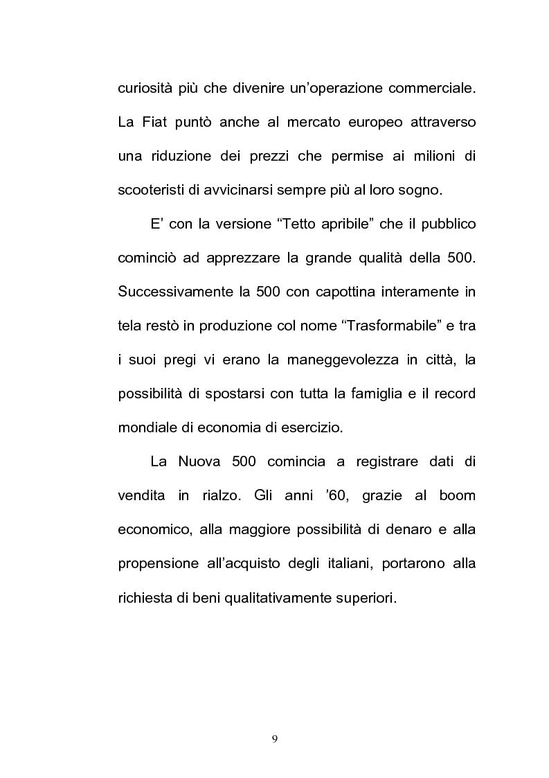 Anteprima della tesi: La FIAT 500 come metafora di un'Italia che cambia, Pagina 9