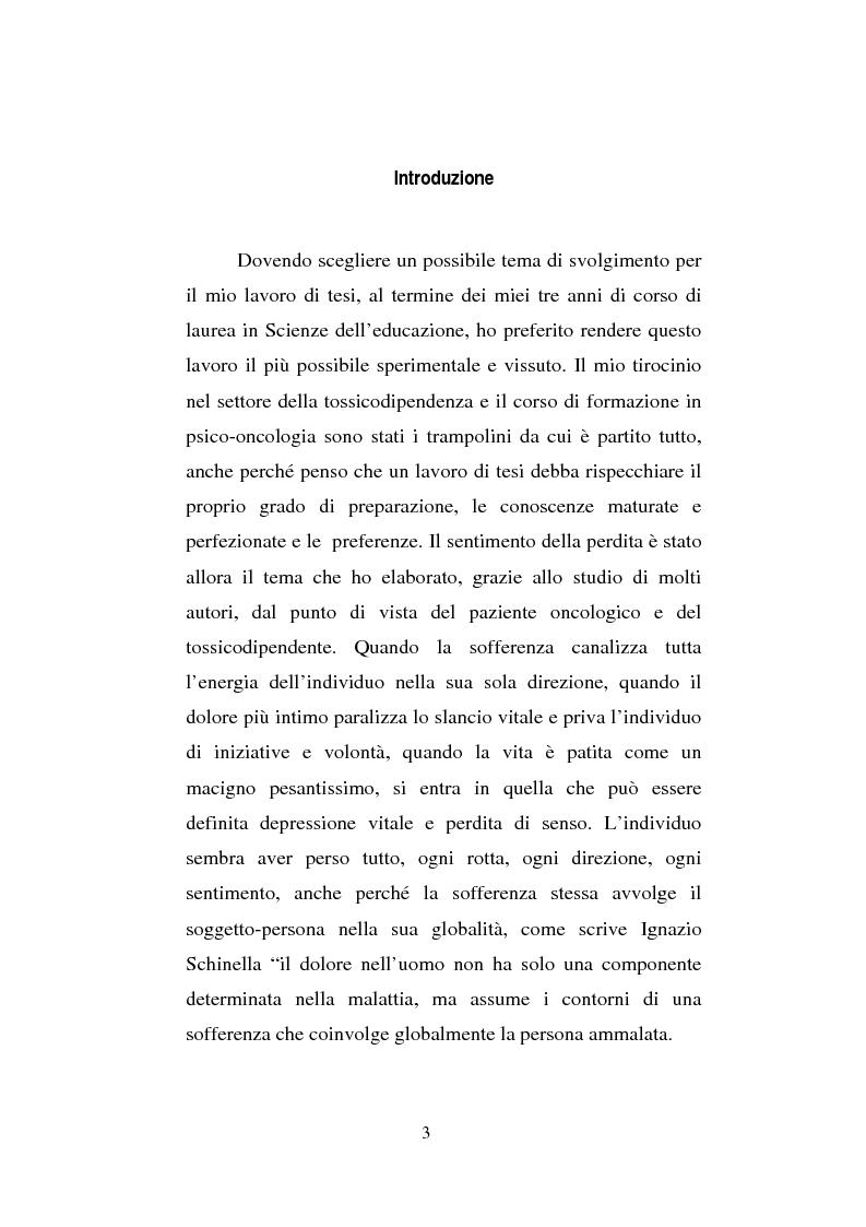 Anteprima della tesi: Il sentimento della perdita nel paziente oncologico e nel tossicodipendente, Pagina 1