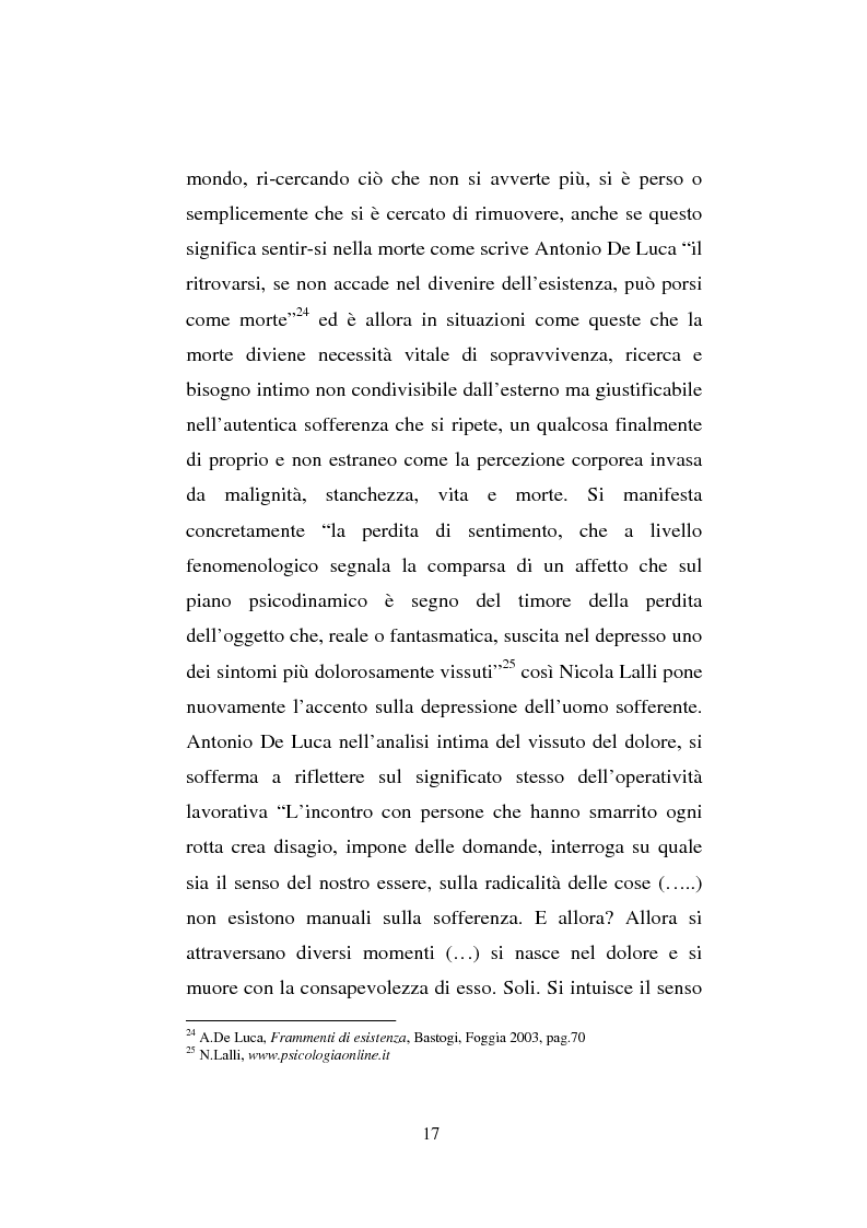 Anteprima della tesi: Il sentimento della perdita nel paziente oncologico e nel tossicodipendente, Pagina 15