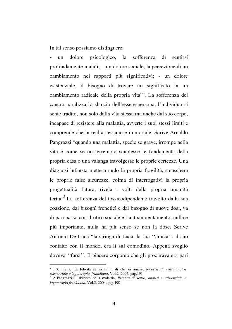 Anteprima della tesi: Il sentimento della perdita nel paziente oncologico e nel tossicodipendente, Pagina 2