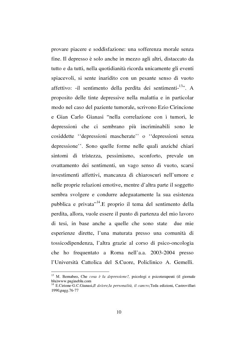 Anteprima della tesi: Il sentimento della perdita nel paziente oncologico e nel tossicodipendente, Pagina 8