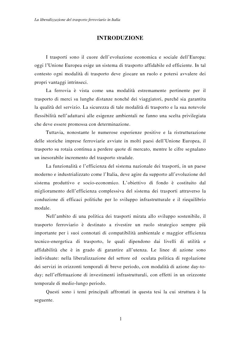 Anteprima della tesi: La liberalizzazione del trasporto ferroviario in Italia, Pagina 1