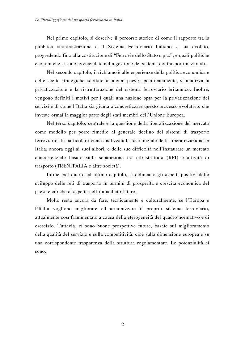 Anteprima della tesi: La liberalizzazione del trasporto ferroviario in Italia, Pagina 2