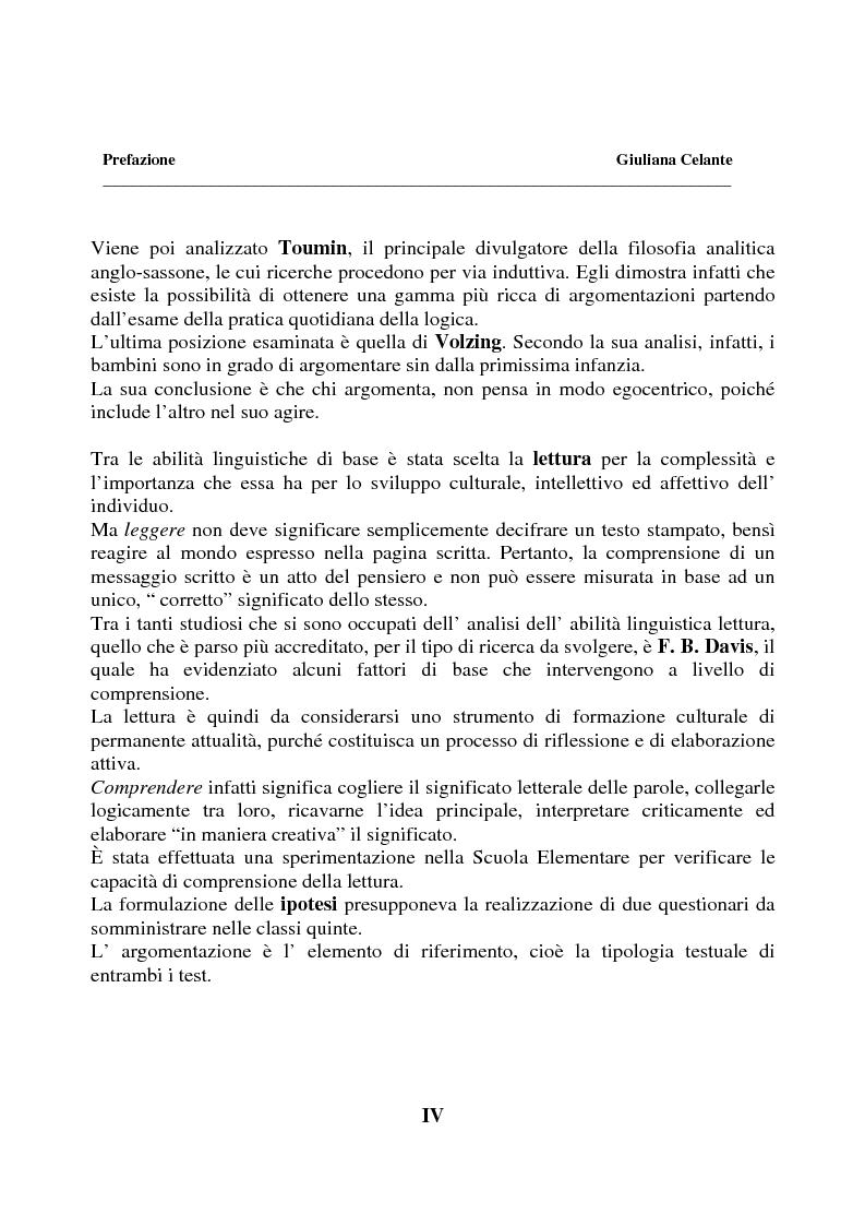Anteprima della tesi: La capacità di comprensione nella lettura all'uscita della quinta elementare, Pagina 4