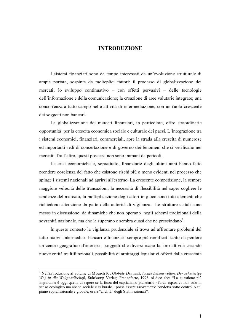 Anteprima della tesi: La cooperazione tra le autorità di controllo sugli intermediari finanziari, Pagina 1