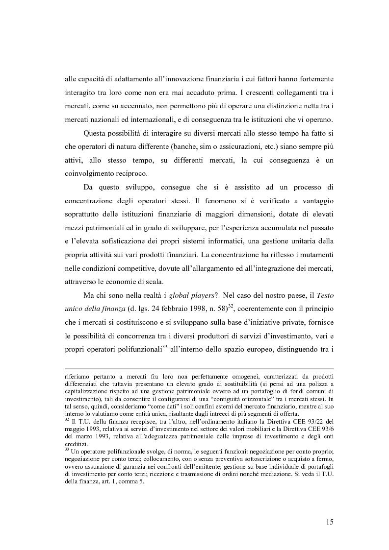 Anteprima della tesi: La cooperazione tra le autorità di controllo sugli intermediari finanziari, Pagina 15