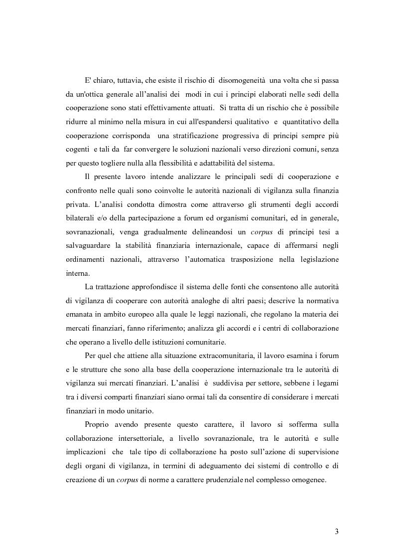 Anteprima della tesi: La cooperazione tra le autorità di controllo sugli intermediari finanziari, Pagina 3