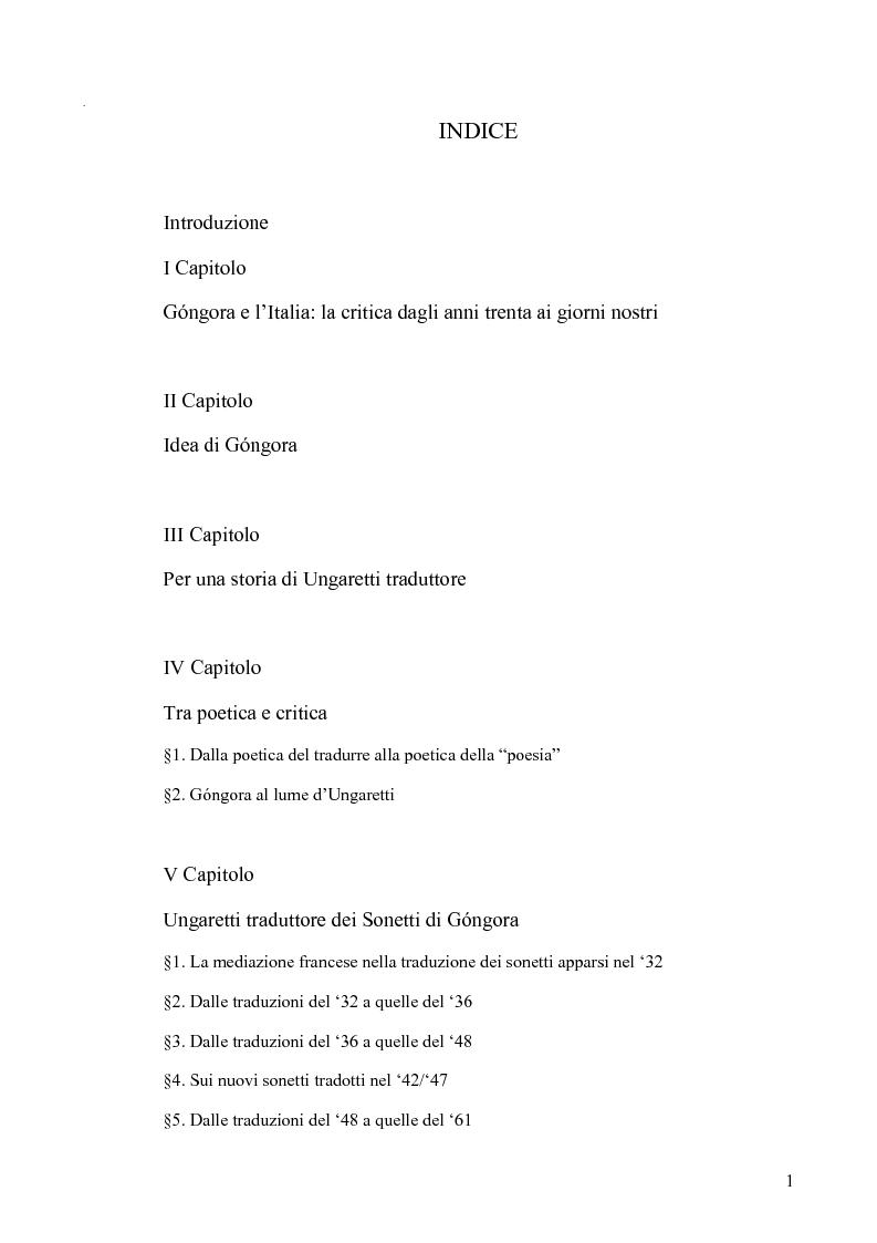 Indice della tesi: Ungaretti traduttore di Góngora. Nell'officina del traduttore-poeta, Pagina 1