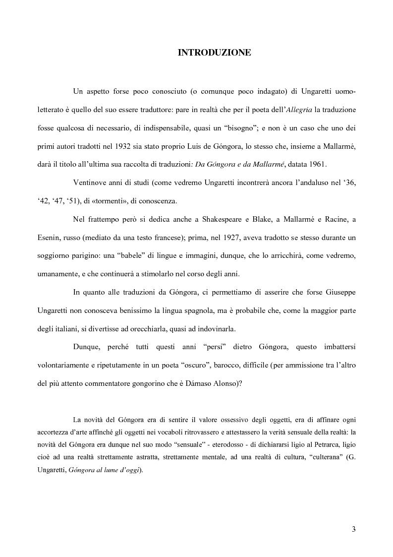 Anteprima della tesi: Ungaretti traduttore di Góngora. Nell'officina del traduttore-poeta, Pagina 1