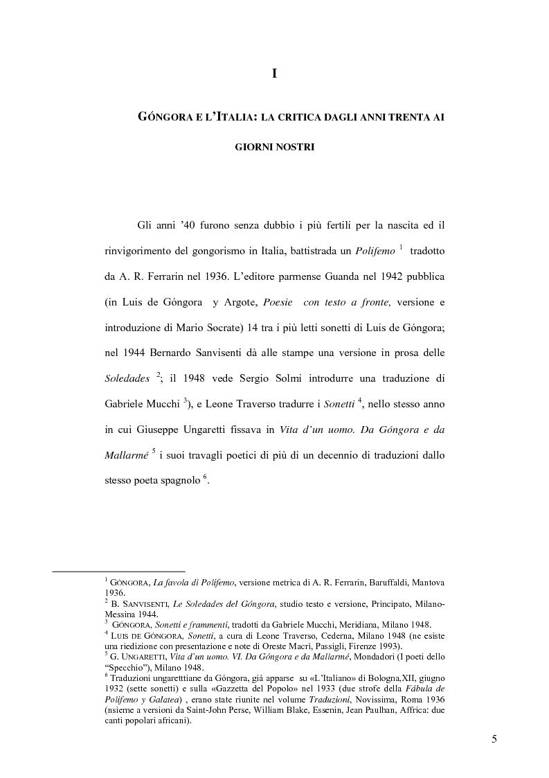 Anteprima della tesi: Ungaretti traduttore di Góngora. Nell'officina del traduttore-poeta, Pagina 3
