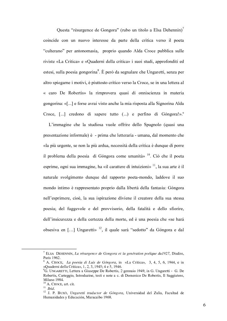Anteprima della tesi: Ungaretti traduttore di Góngora. Nell'officina del traduttore-poeta, Pagina 4