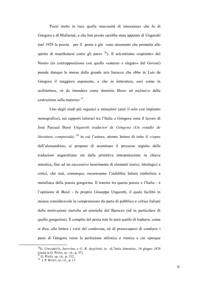 Anteprima della tesi: Ungaretti traduttore di Góngora. Nell'officina del traduttore-poeta, Pagina 7