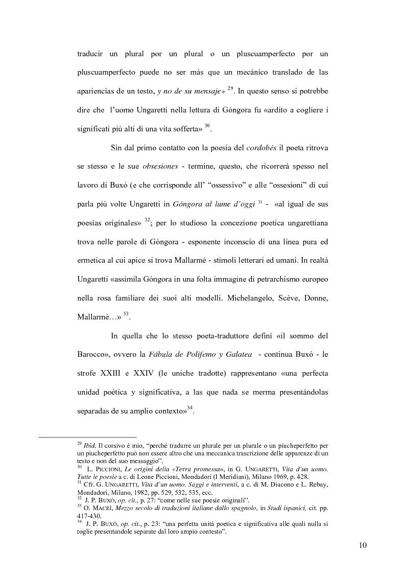 Anteprima della tesi: Ungaretti traduttore di Góngora. Nell'officina del traduttore-poeta, Pagina 8