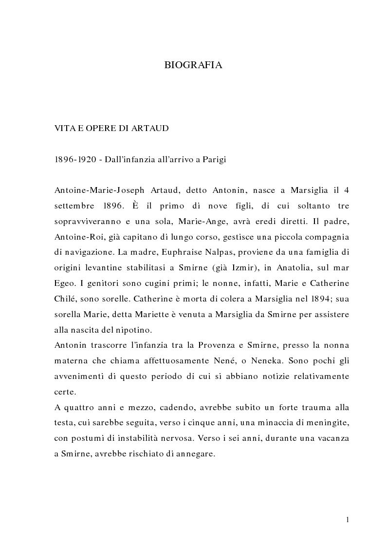 Anteprima della tesi: Antonin Artaud: teatro, delirio e spazio scenico, Pagina 1