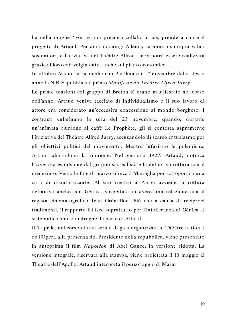 Anteprima della tesi: Antonin Artaud: teatro, delirio e spazio scenico, Pagina 10