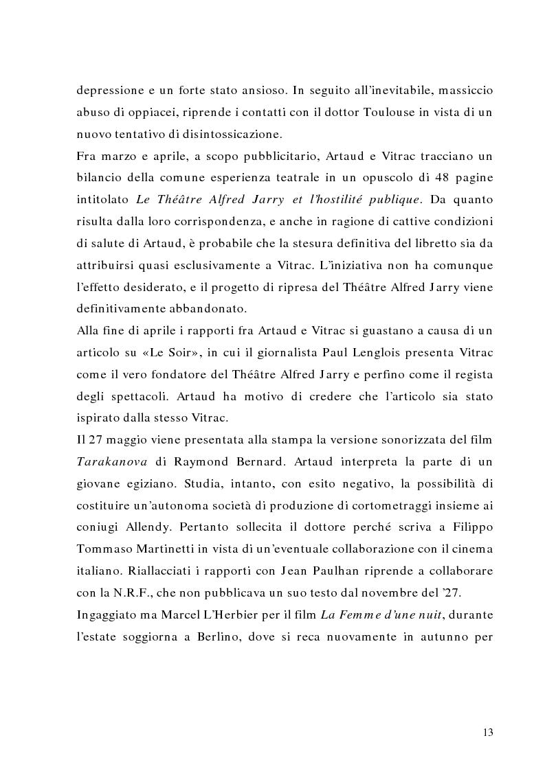 Anteprima della tesi: Antonin Artaud: teatro, delirio e spazio scenico, Pagina 13