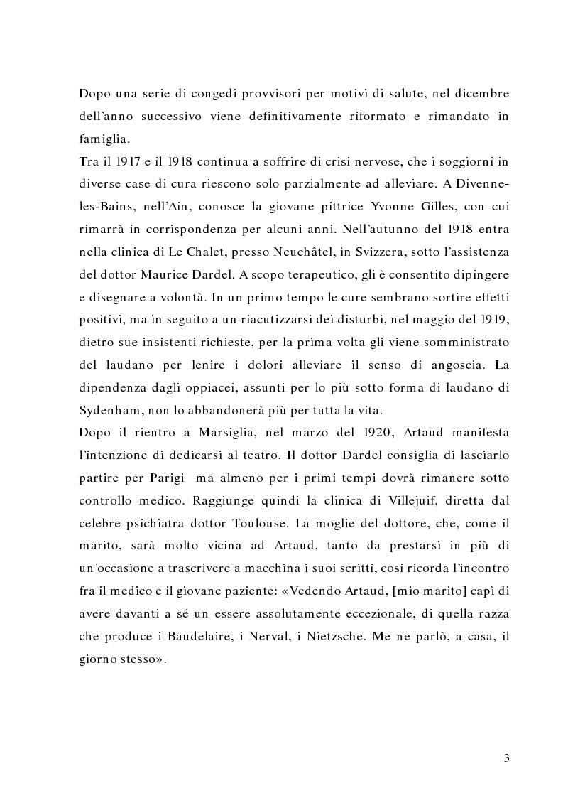 Anteprima della tesi: Antonin Artaud: teatro, delirio e spazio scenico, Pagina 3
