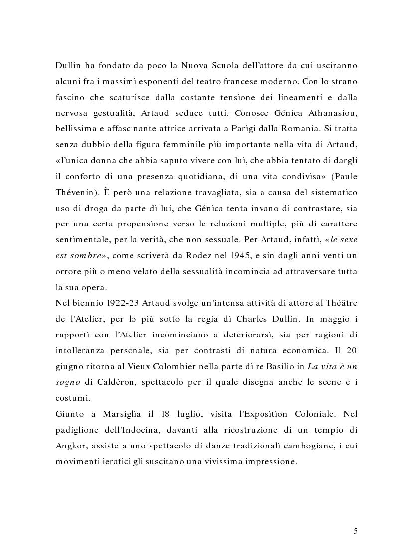 Anteprima della tesi: Antonin Artaud: teatro, delirio e spazio scenico, Pagina 5