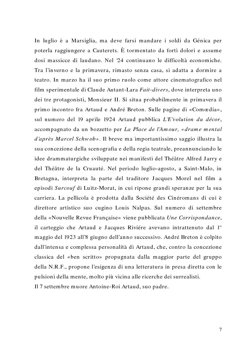 Anteprima della tesi: Antonin Artaud: teatro, delirio e spazio scenico, Pagina 7