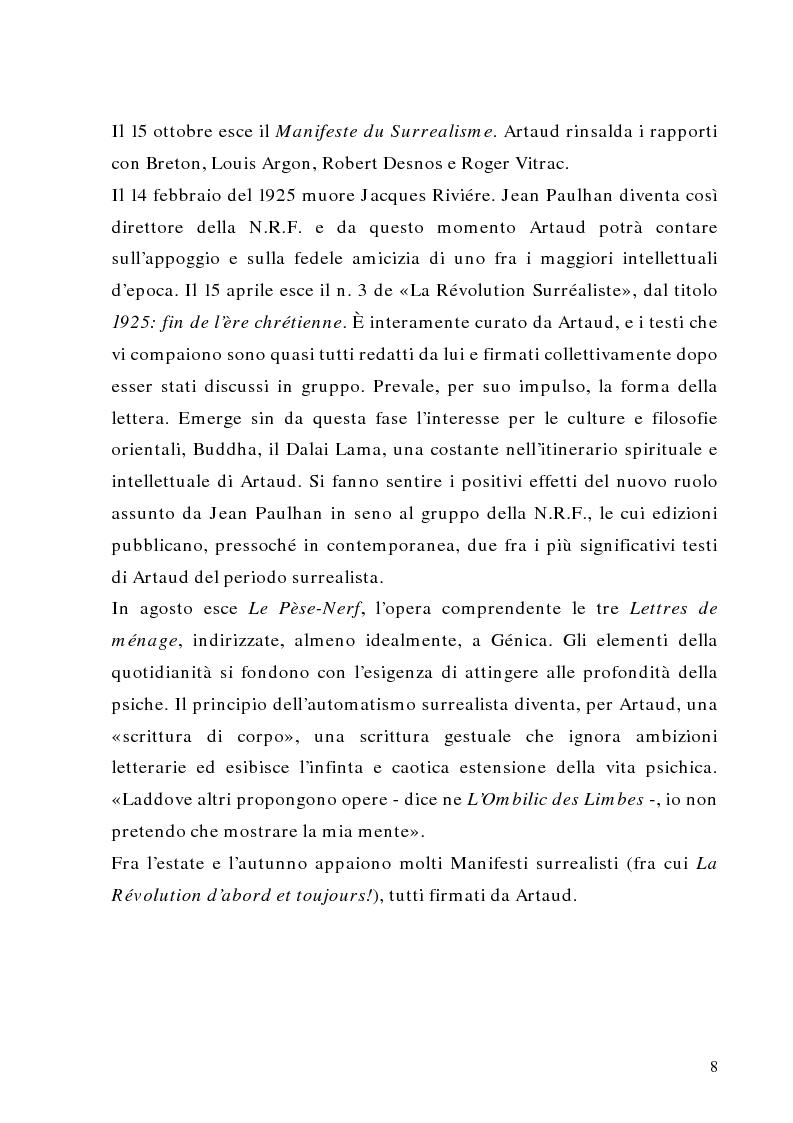 Anteprima della tesi: Antonin Artaud: teatro, delirio e spazio scenico, Pagina 8