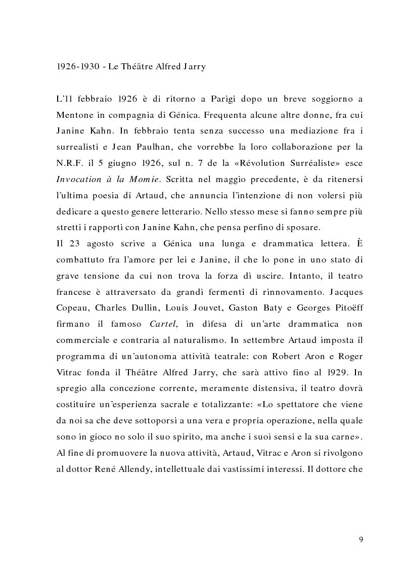Anteprima della tesi: Antonin Artaud: teatro, delirio e spazio scenico, Pagina 9