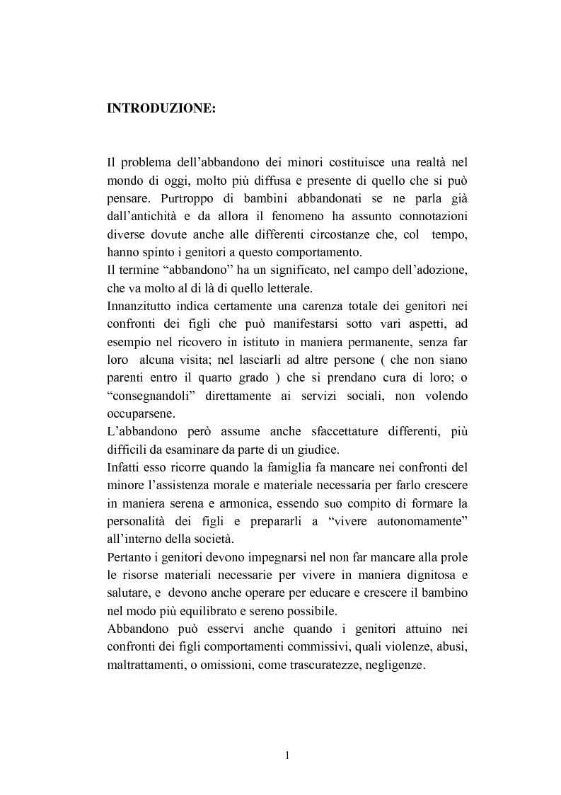 Anteprima della tesi: L'abbandono dei minori, Pagina 1