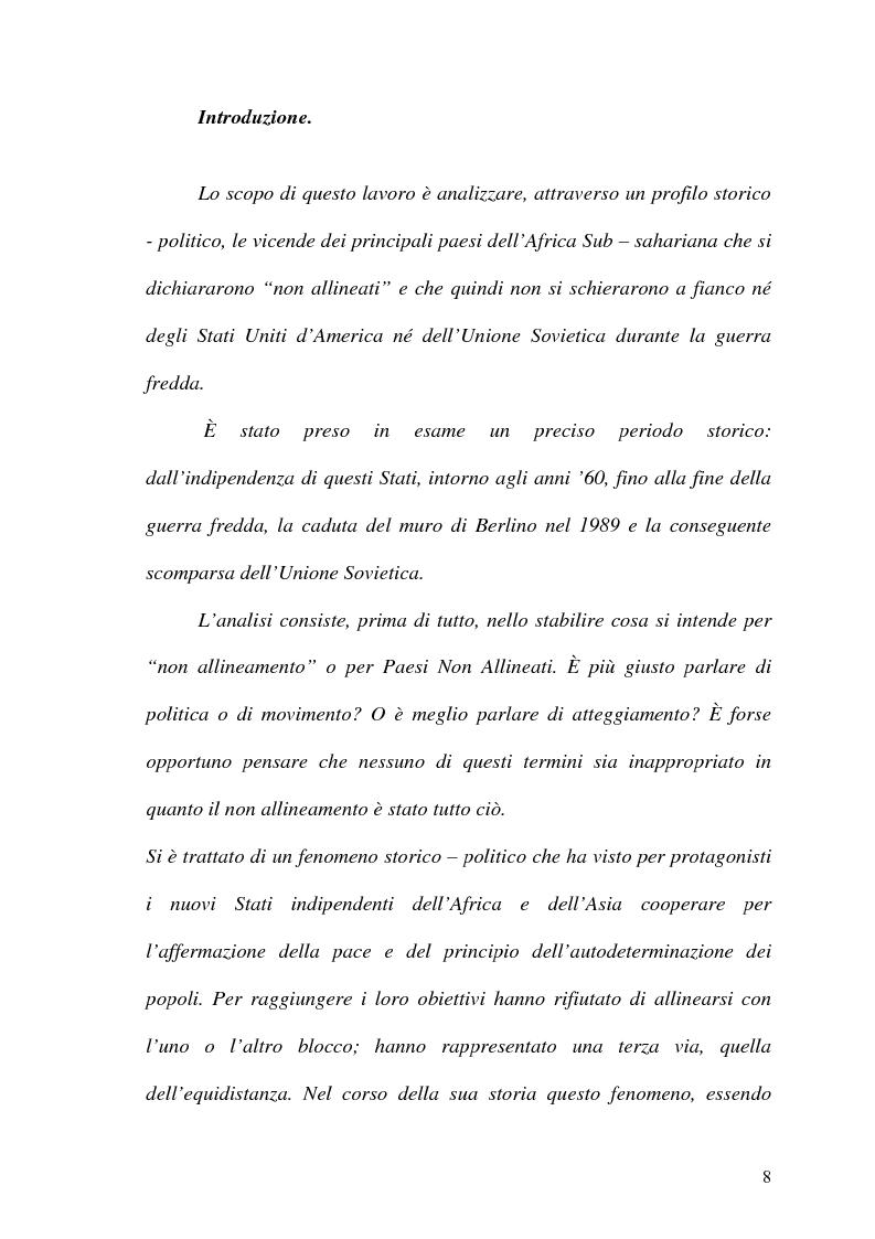 Anteprima della tesi: Gli Stati dell'Africa Sub-Sahariana e la politica del non allineamento: dall'indipendenza alla caduta del muro di Berlino, Pagina 1